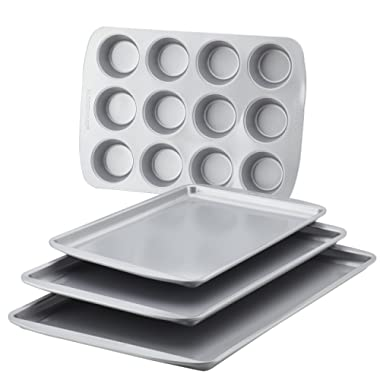 Farberware 47360 Bakeware Set, 4-Piece, Gray