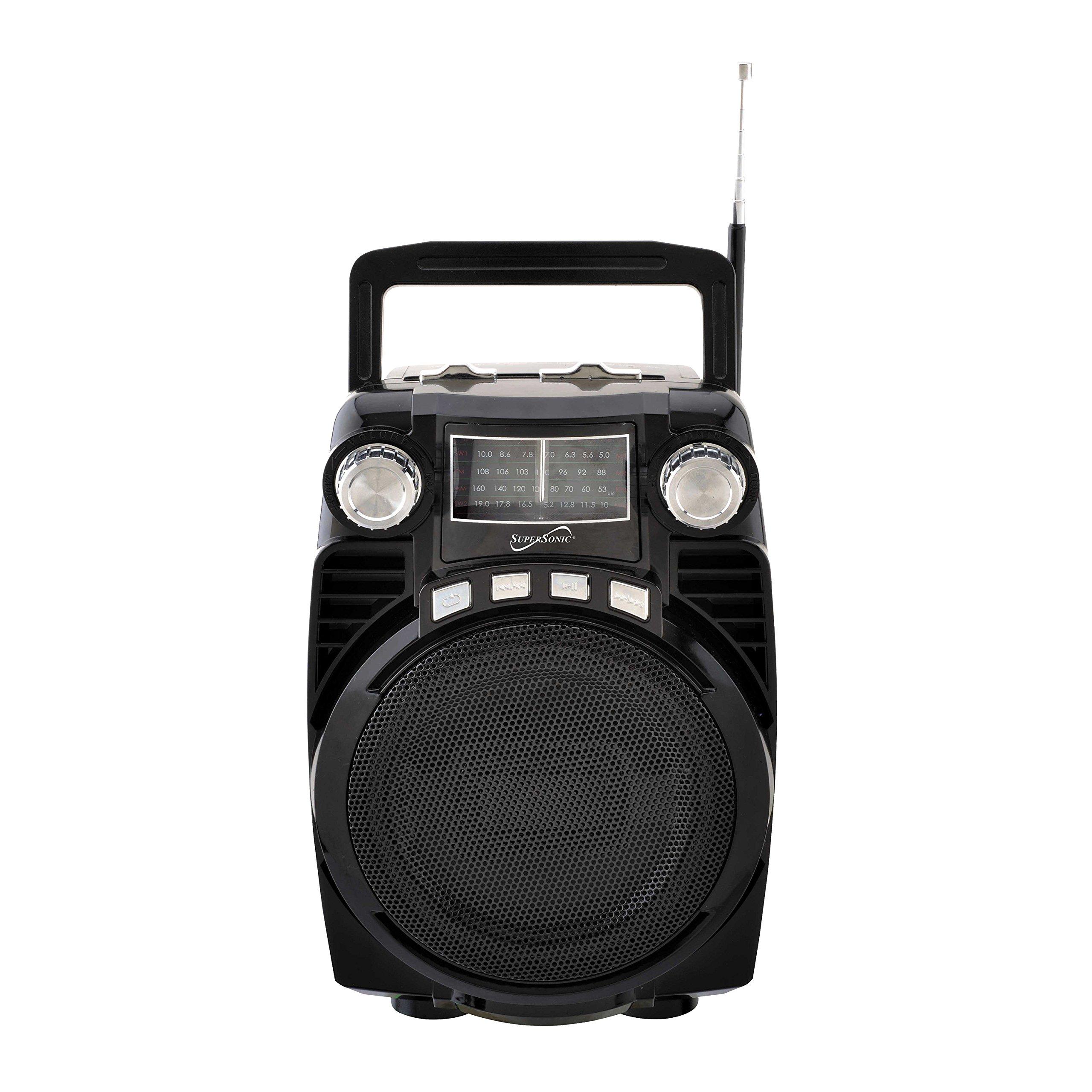 SuperSonic Bluetooth Portable 4 Band Radio, Black (SC-1390BT)
