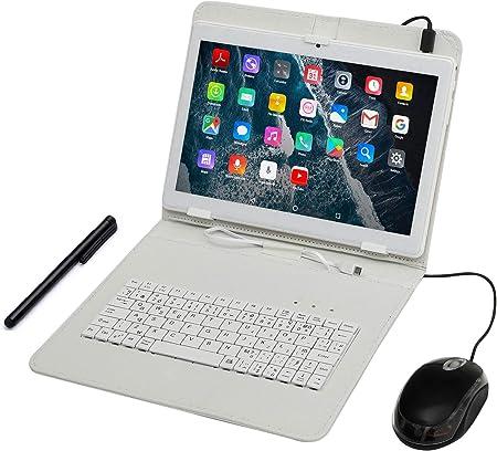 Tablet PC 10 Pulgadas, Qrdenador Tablet Quad-Core con Funda para Teclado, Smartphone Dual SIM ,Doble Cámara, Bluetooth,Wi-Fi, 8GB Nand Flash, Juegos ...