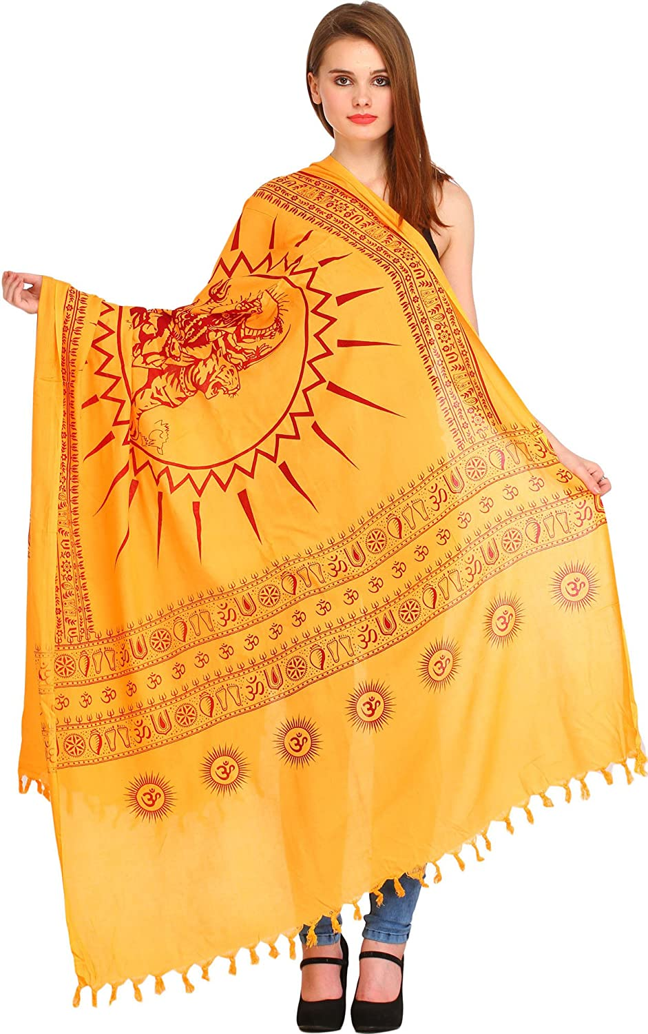 Exotic India Pale-Marigold Hindu Prayer Shawl of Goddess Durga - Yellow SRB55