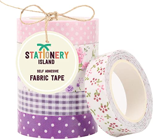 Stationery Island Fabric Tape Pack PURPLE LILAC: 6 Rollos de Masking Tape / Cinta adhesiva decorativa de