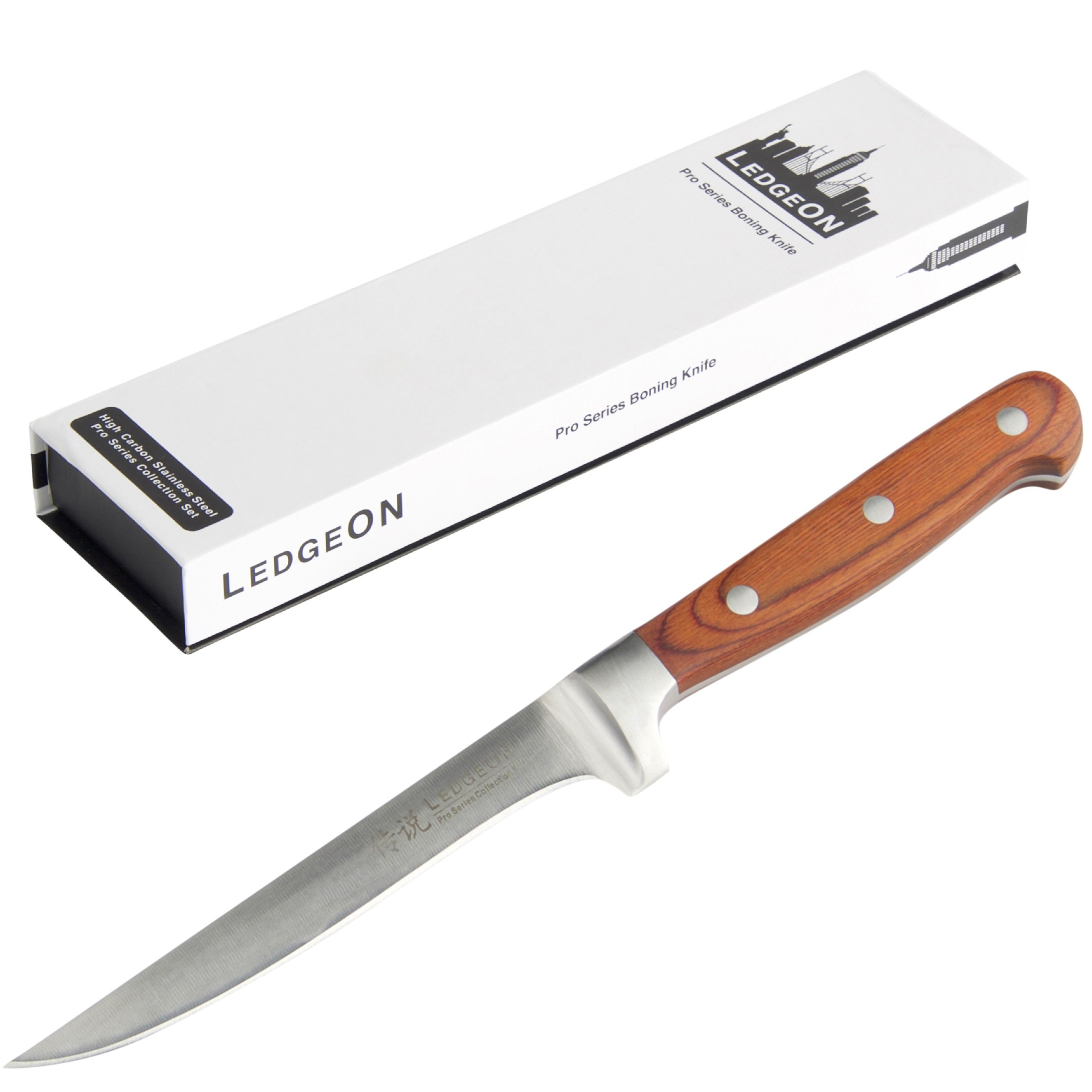 LedgeON 6'' Professional Boning Knife - Pro Series - High Carbon Stainless Steel Blade - Wood Handle