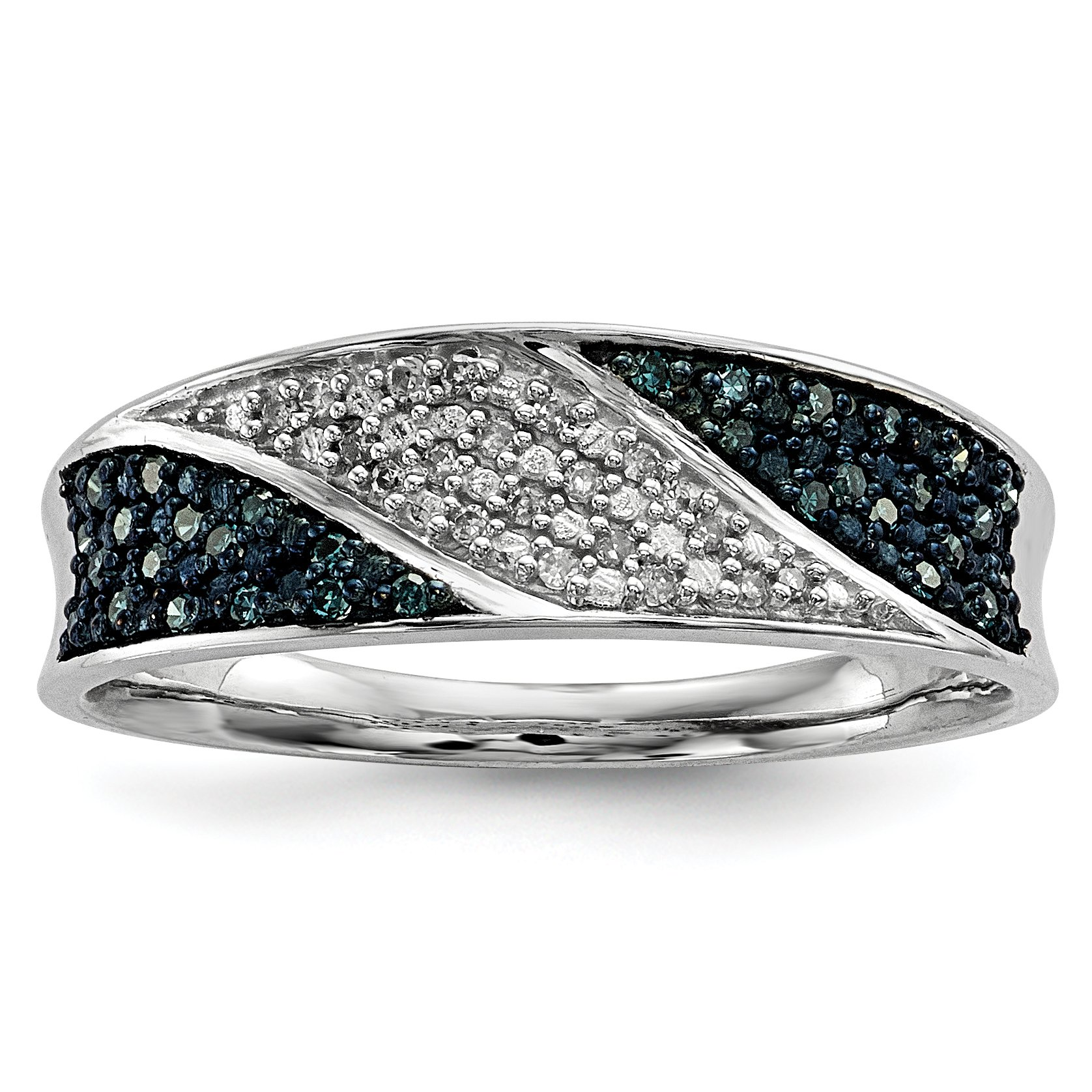 ICE CARATS 925 Sterling Silver Blue White Diamond Band Ring Size 7.00 Fine Jewelry Gift Set For Women Heart