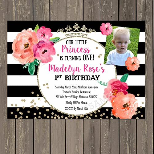 Amazoncom Princess Birthday Invitation Floral Black White