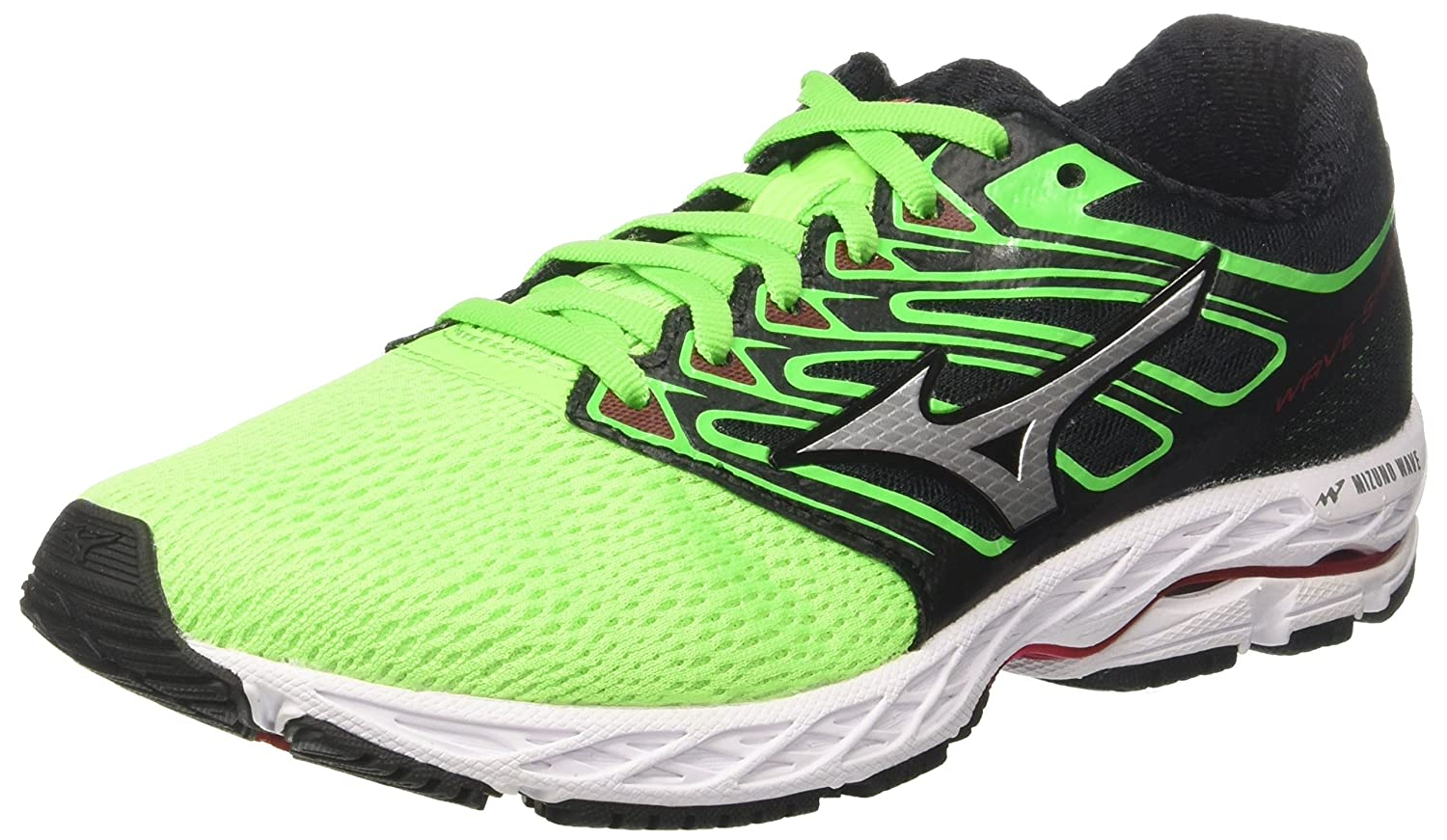 Mizuno Wave Shadow, Zapatillas de Running para Hombre 46.5 EU|Verde (Greenslimewhiteformulaone)