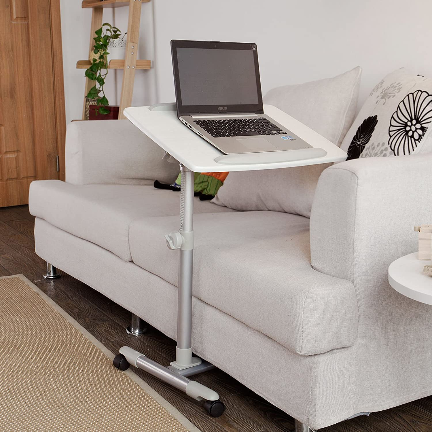 for couch bed stand pc laptop desk adjustable standing tray table work pin cart portable