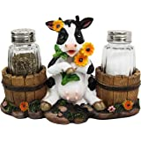 Sunflower Bovine Cow With Two Country Barrels Decorative Glass Salt Pepper Shakers Holder Resin Figurine