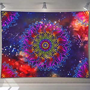 PASHOP Mandala Tapestry, Trippy Tapestry Wall Hanging Retro Psychedelic Tapestry for Bedroom Wall Art Decor Tapestries for Living Room