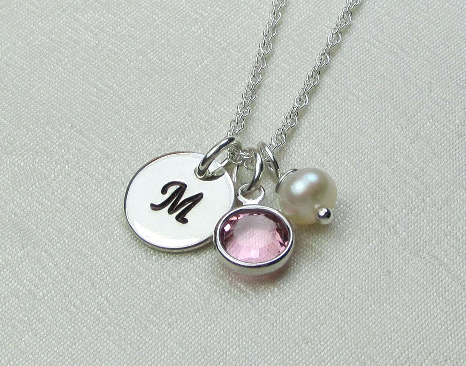 95ca646733fe1 Personalized Necklace with Birthstone Sterling Silver Initial Necklace  Custom Mothers Necklace Monogram Jewelry Bridesmaid Gift Idea New Baby Gift  for ...