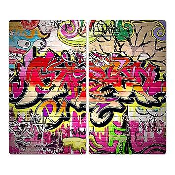 Herdabdeckplatten Von Dekoglas Graffiti Wand Aus Glas M Noppen