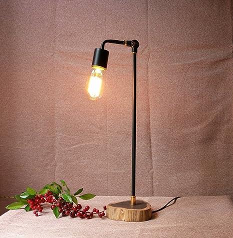 Hecho a mano antiguo de madera y metal mesa lámparas para ...