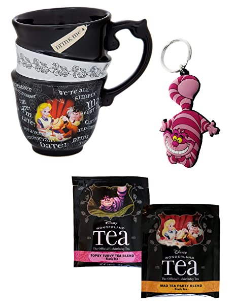 ec983c28630 Amazon.com: Alice in Wonderland Stacked Quotes Tea Cup Mug and Cheshire  Keychain and 2 Teabag Set: Kitchen & Dining