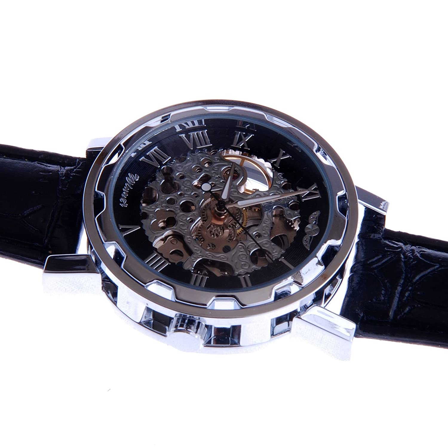 Amazon.com: Mens Automatic Skeleton Wrist Watch Silver Dial Black Leather Strap Self Winding AMW-37: Watches