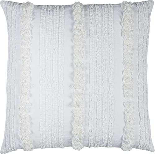Rizzy Home T12221 Decorative Pillow, 20 X20 , White Neutral