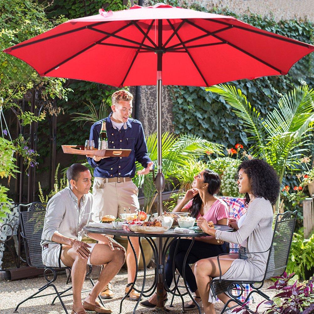 Abba Patio Market Outdoor Table Umbrella with Auto Tilt and Crank, 9 Feet, Red