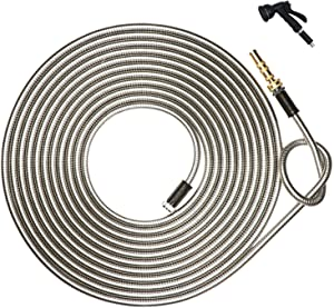 HIGH GRAND 75 ft 304 Stainless Steel Metal Garden Hose Pipe With Solid Brass Nozzle, 8 Function Spray Gun Lightweight Portable Durable Flexible and No Kink Cool to The Touch Tangle Puncture Resistant