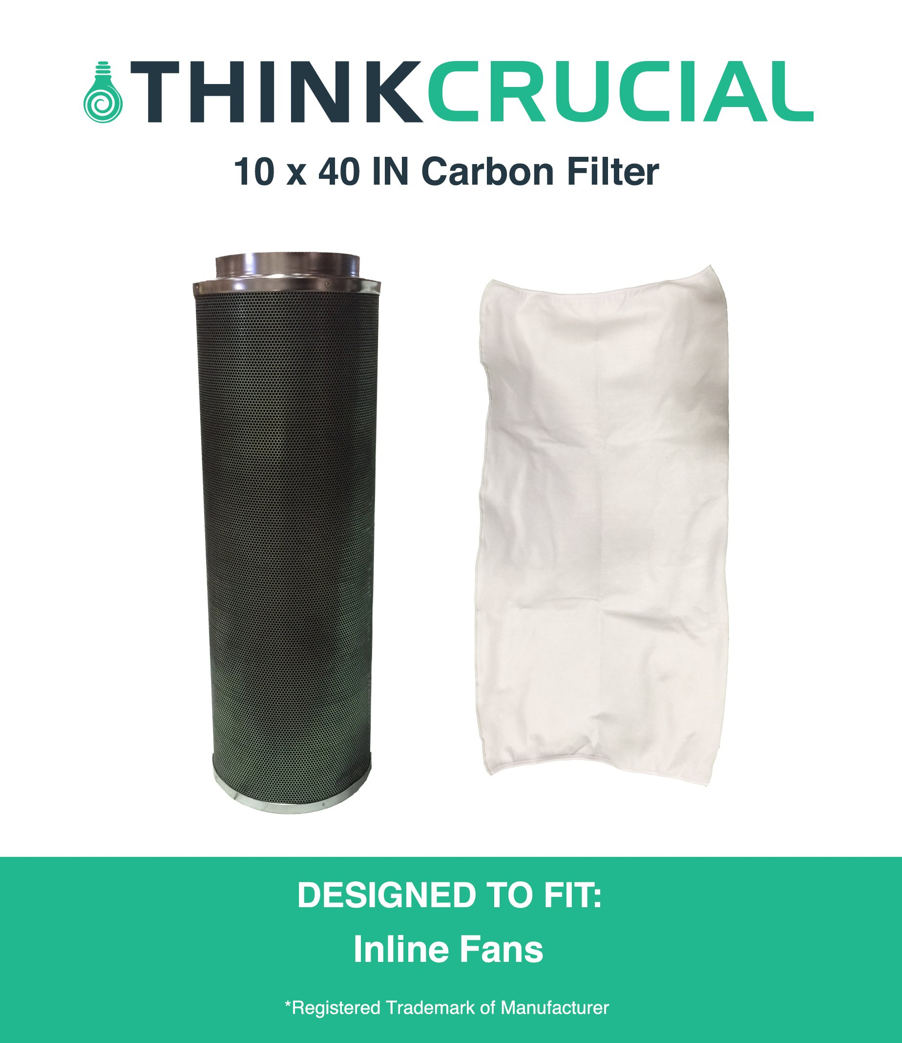 """10x40"""" Carbon Inline Fan Filter & Odor Control, Part # GLFILT10L Perfect for Odor Elimination in Grow Rooms, Cigarette Smoke, Dander, Plant Emissions by Think Crucial"""