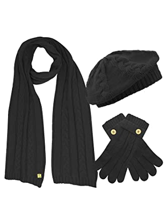 5a16a6517f8 Black Cable Knit Beret Hat Scarf   Glove Matching 3 Piece Set Set at ...