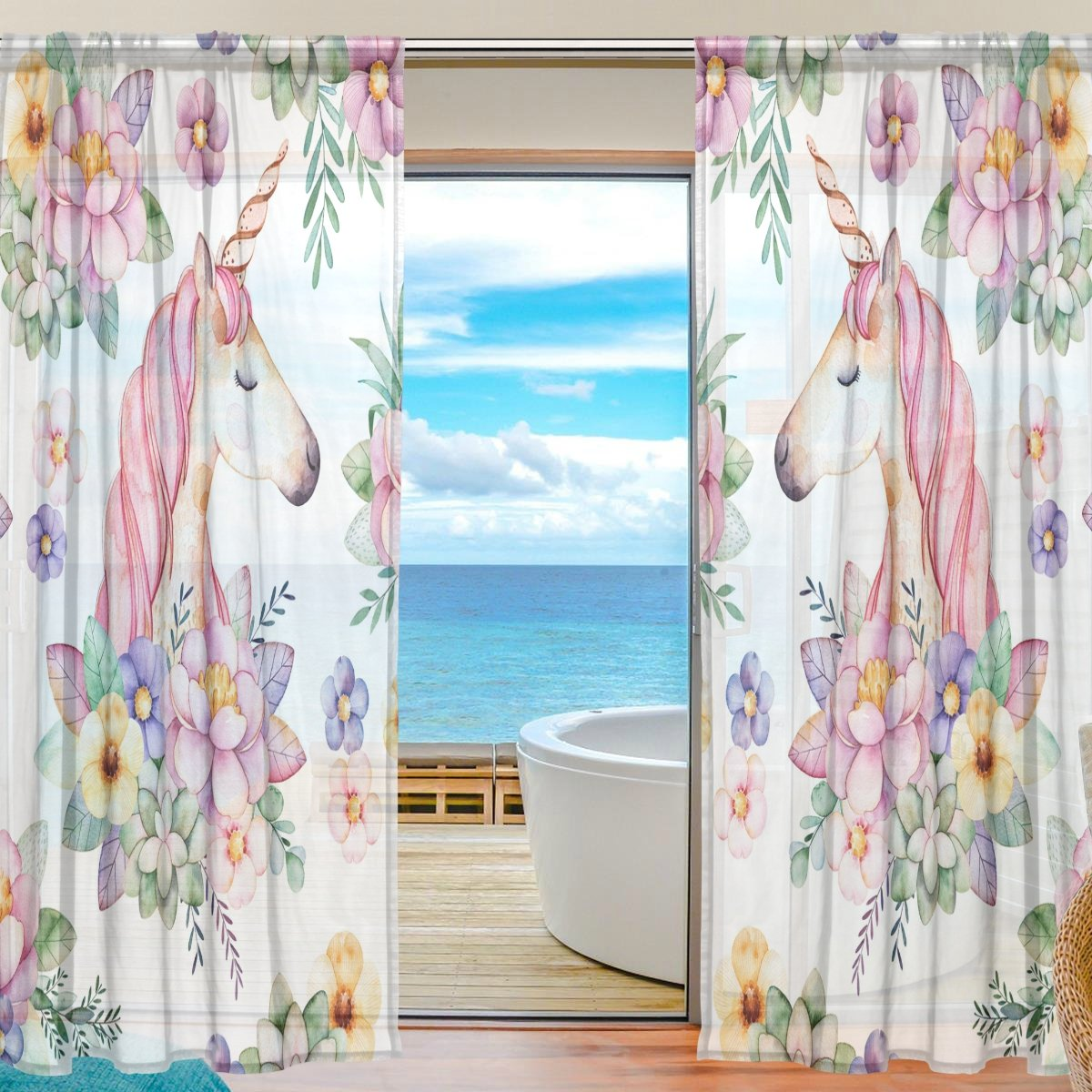 SEULIFE Window Sheer Curtain, Animal Unicorn Floral Flower Leaves Voile Curtain Drapes for Door Kitchen Living Room Bedroom 55x78 inches 2 Panels