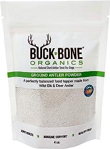Buck Bone Organics Ground Wild Elk and Deer Antler Powder for Dogs - Mineral Rich Food Topper for Dogs - Superfood Antler Powder Multivitamin for Dogs - 4 oz