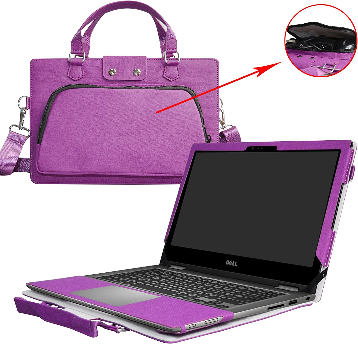 """Inspiron 13 2-in-1 i7353 i7352 Case,2 in 1 Accurately Designed Protective PU Leather Cover + Portable Carrying Bag for 13.3"""" Dell Inspiron 13 2-in-1 7000 Series 7353 7352 Laptop,Purple"""