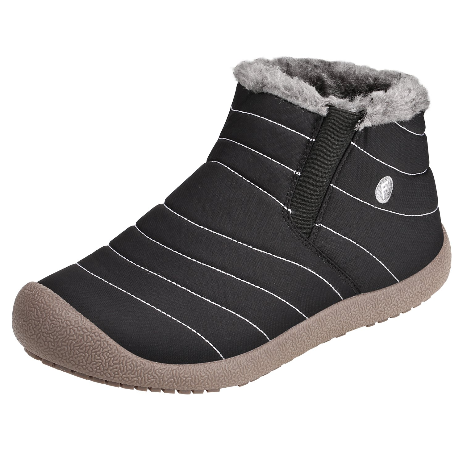 SANMIO Warm Snow Boots, Winter Fur Lining Ankle Boots, Thickening Winter Outdoor Slip On Flats Shoes (Black,Lable 42)