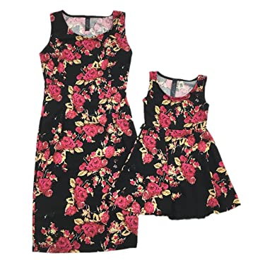 b1de94bf03cdd New Women Mother and Daughter Family-Matching Dresses Summer Girl Dress  Clothes Outfit