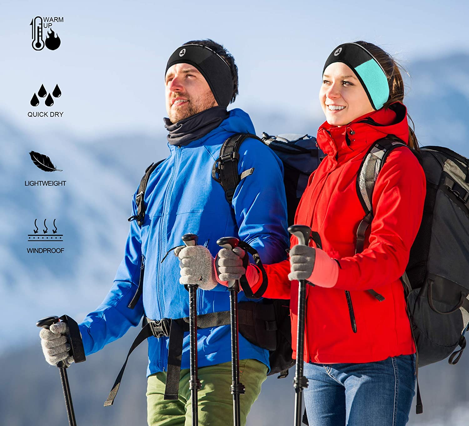 Empirelion Lightweight Windproof Thermal Ear Warmer//Muffs 360/º Reflective Fleece Headbands 4 Pack,Perfect for Cycling Skiing Workout Yoga Running /& Riding Motorcycle in Winter