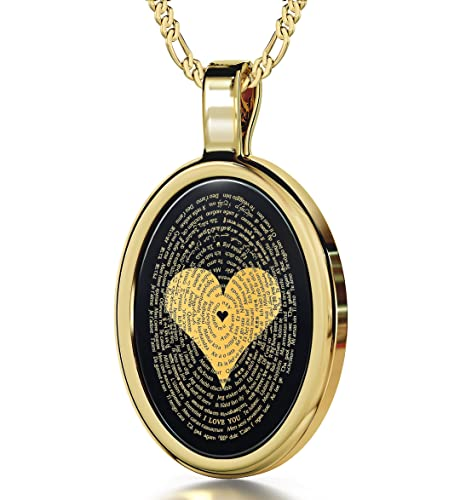 Nano Jewelry Gold Plated I Love You Necklace 24k Gold Inscribed in 120 Languages Onyx Pendant, 20 Gold Filled Chain