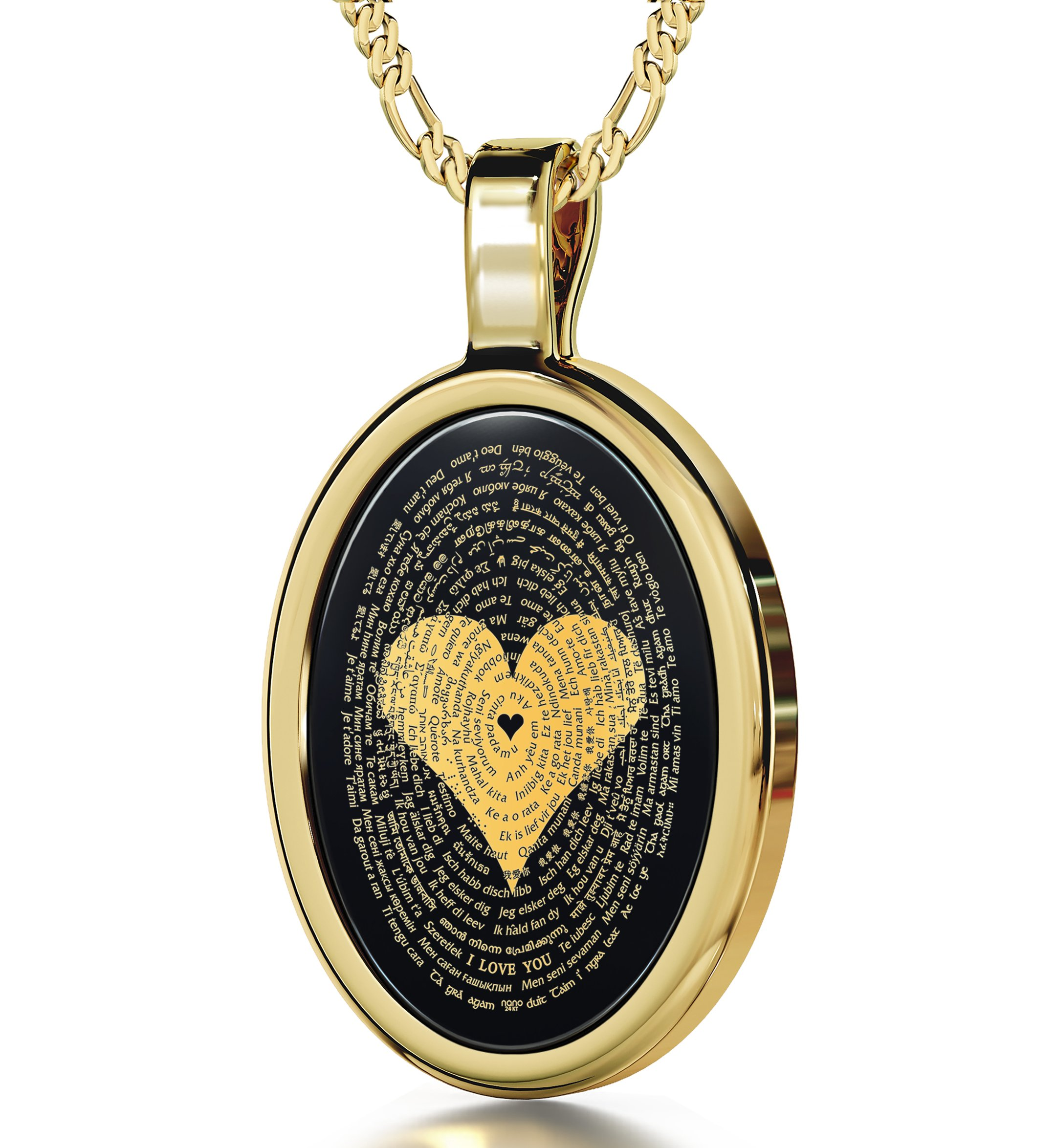 Gold Plated I Love You Necklace 24k Gold Inscribed in 120 Languages Onyx Pendant, 20'' Gold Filled Chain by Nano Jewelry (Image #2)