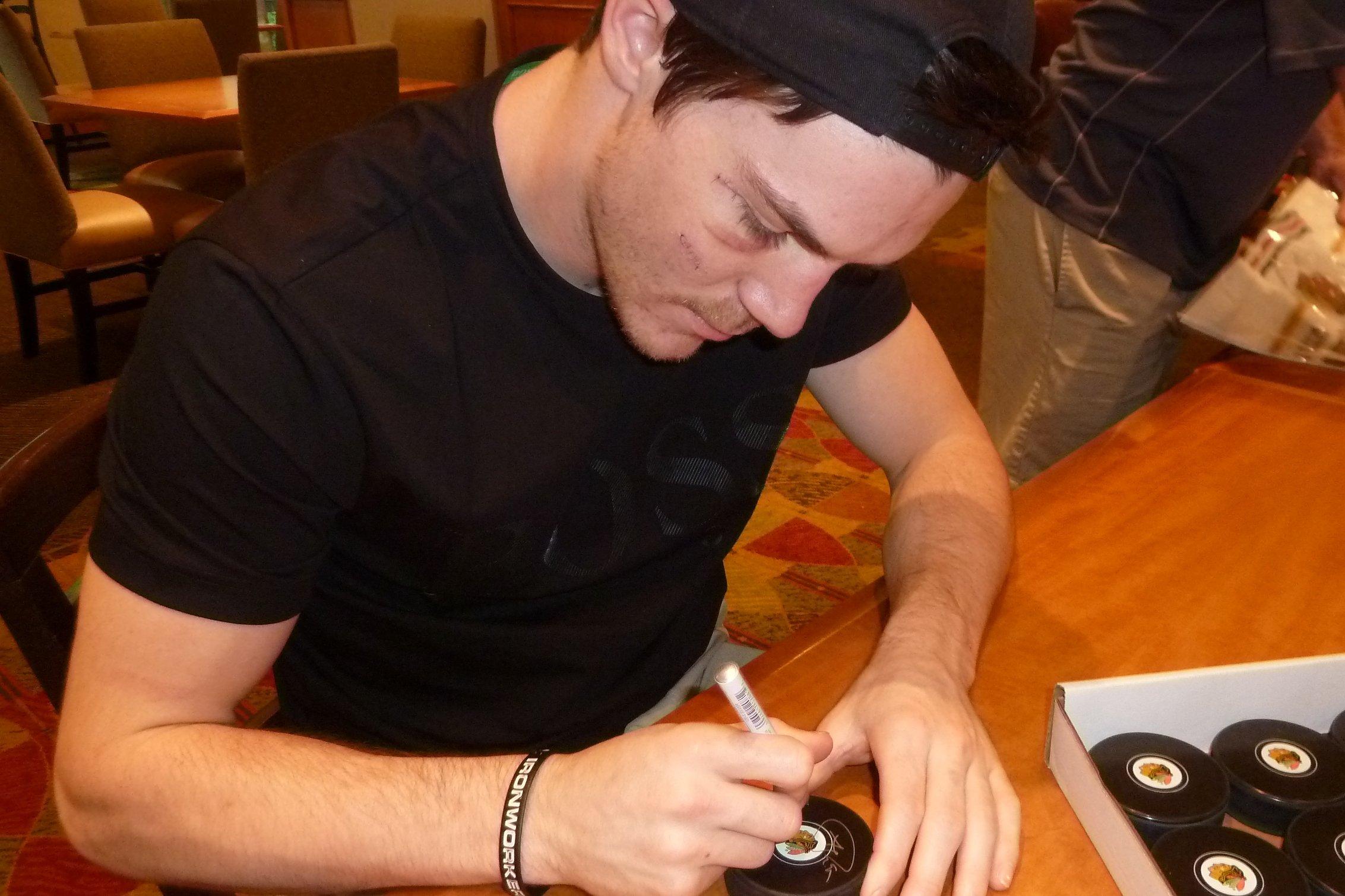 "Andrew Shaw ""1st Shot 1st Goal 1/5/12"" Autographed Signed Chicago Blackhawks Hockey Puck"