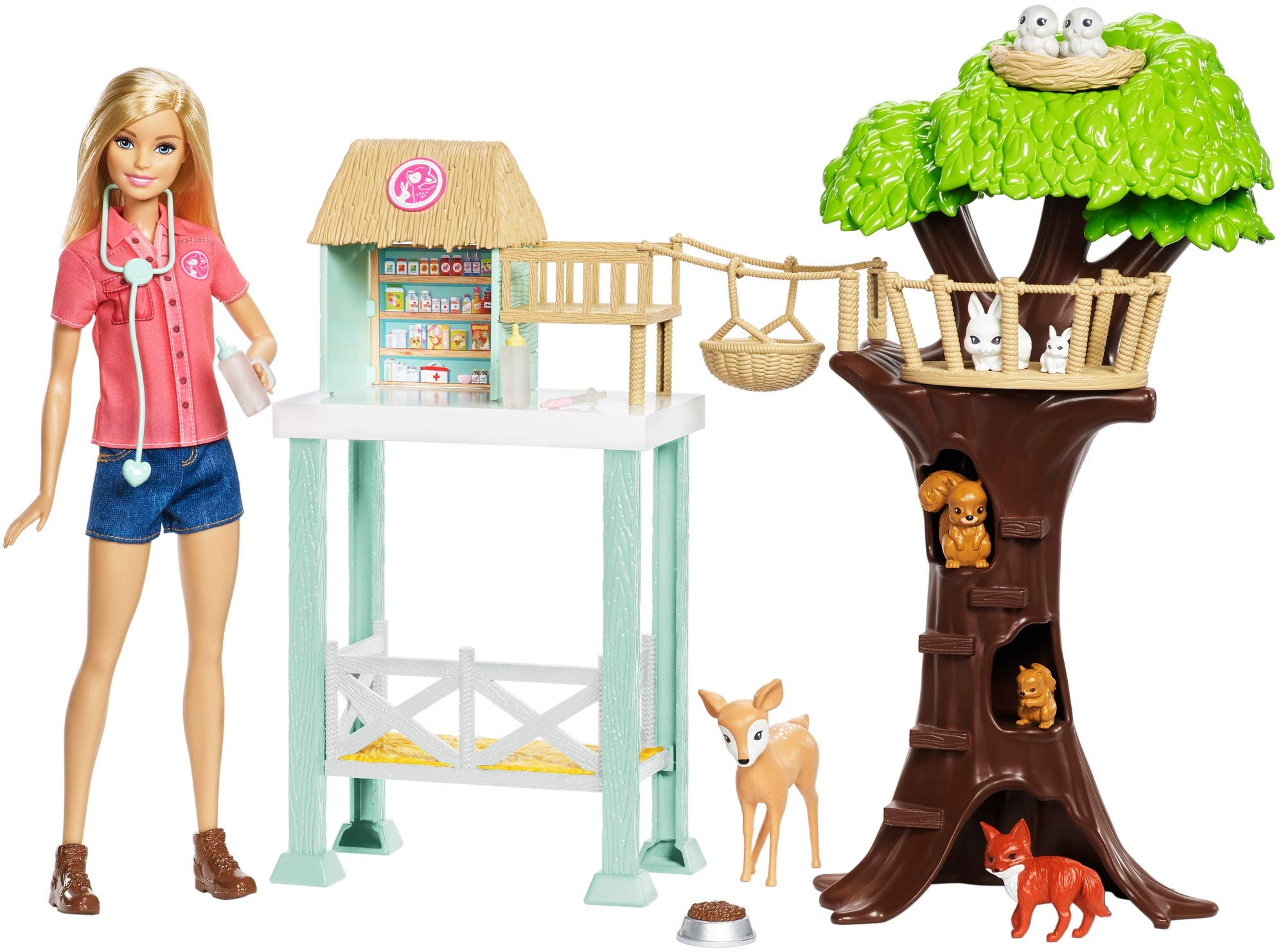 Barbie Doll and Animal Rescue Center with 8 Animals