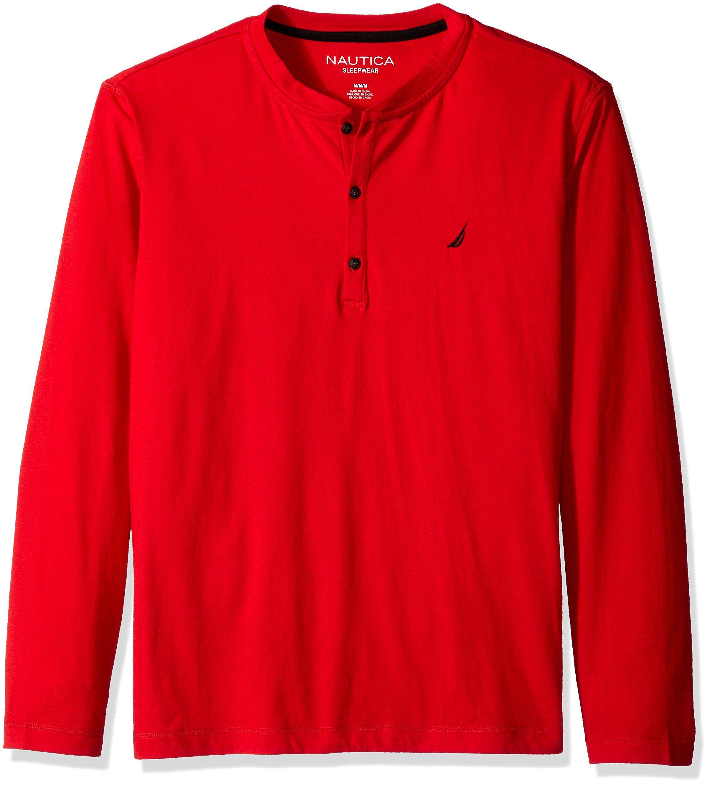 Nautica Men's Long Sleeve Henley Pajama Top, Red, Small