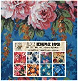 """Decoupage Paper Pack (24 Sheets 6""""x6"""") Art Deco Large Flowers FLONZ Vintage Styled Paper for Decoupage and Craft"""