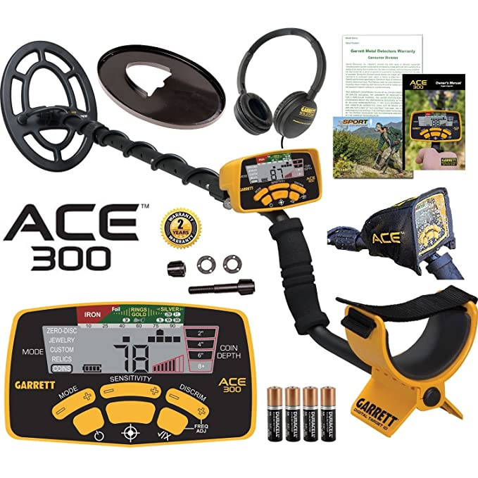 Amazon.com : Garrett ACE 300 Metal Detector with Waterproof Coil and Headphone Plus Free Accessories : Garden & Outdoor