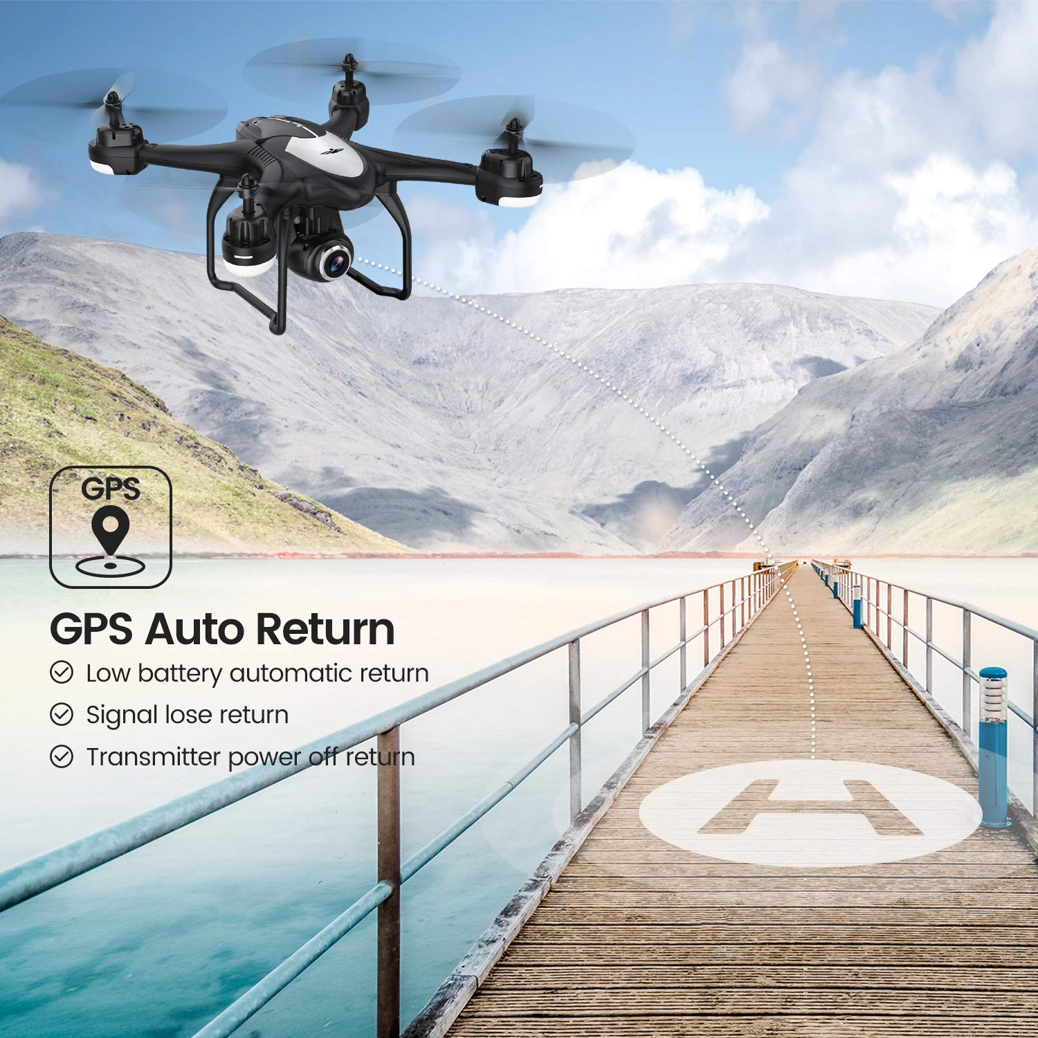 Potensic T18 Camera Drone, FPV RC Quadcotper with 1080P HD Camera Live Video, GPS Auto Return Home, Altitude Hold, Follow Me, 2 Batteries and Aluminum Carrying Case