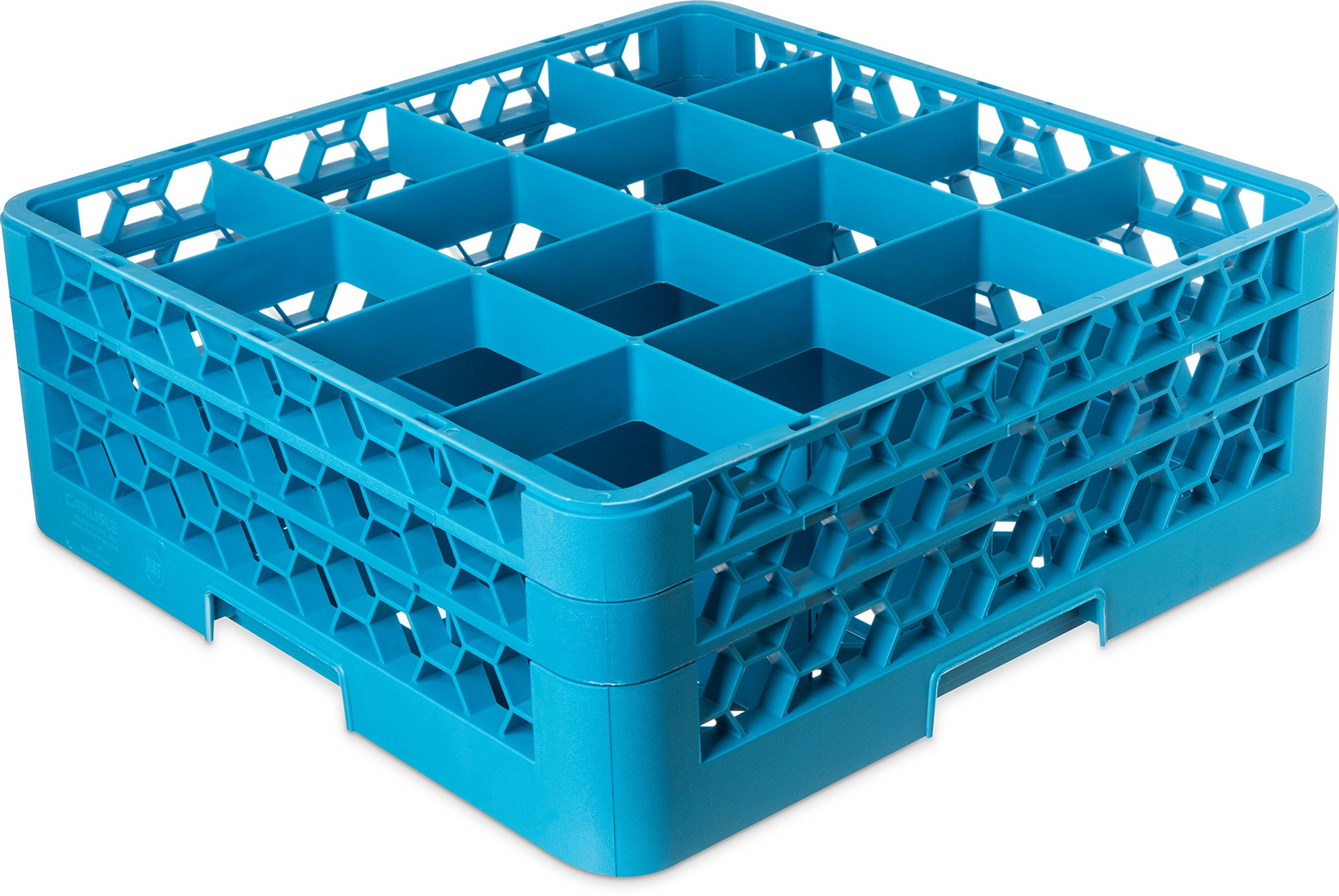 Carlisle RG16-214 OptiClean 16 Compartment Glass Rack with 2 Extenders, 4-7/16'' Compartments, Blue (Pack of 3) by Carlisle