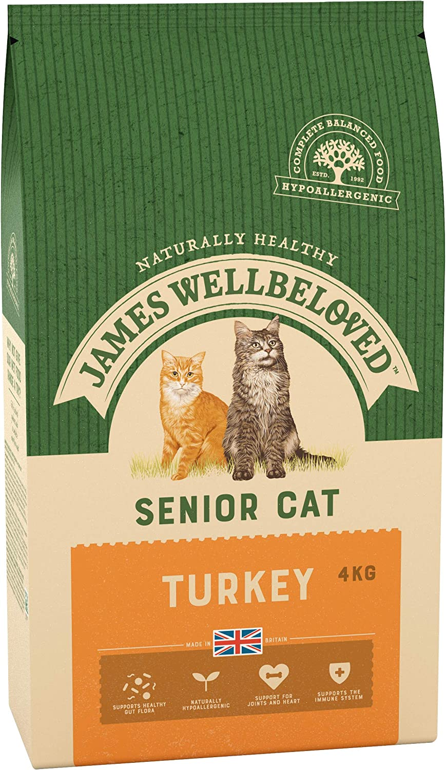 James Wellbelove Turquía y arroz Senior Alimentos Secos para Gatos 1,5 kg: Amazon.es: Productos para mascotas