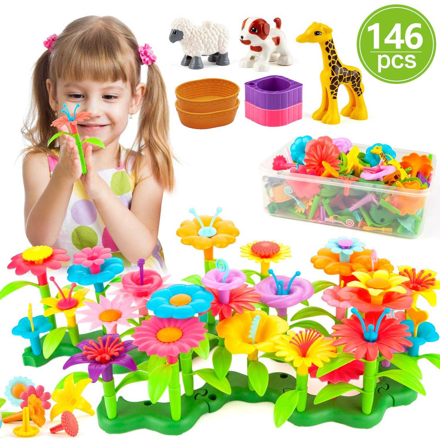 AOKIWO Flower Garden Building Toys Set, 146 PCS Flower Building Toy Educational Creative Playset for Age 3,4,5,6,7 Year Old Gifts