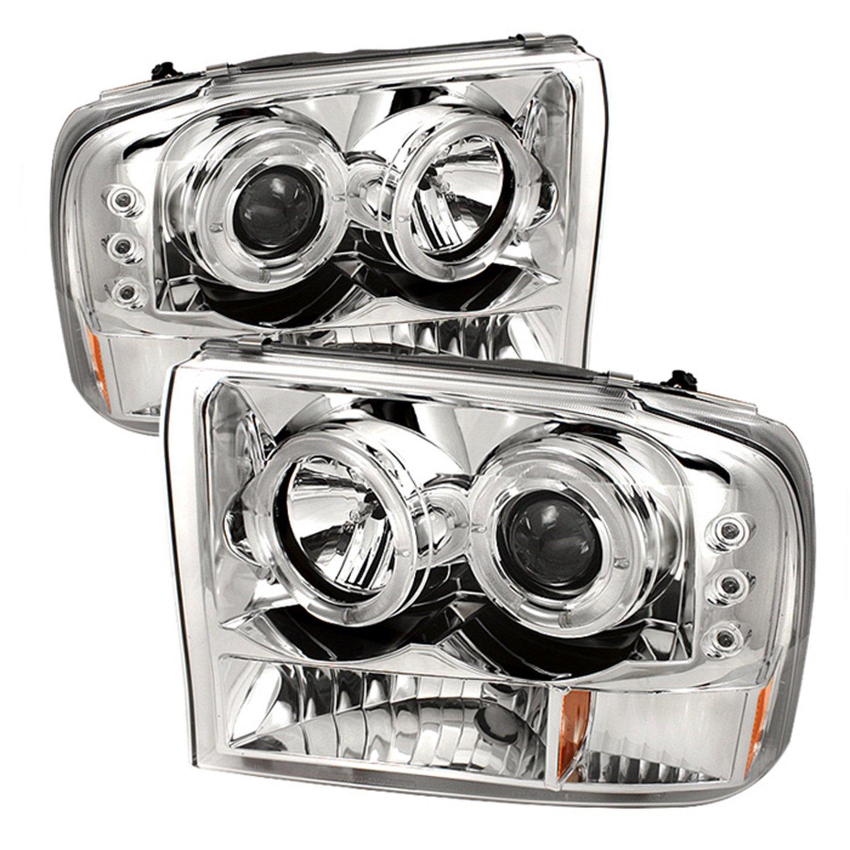 Spyder Auto Ford F250 F350 Super Duty Excursion 2004 F 250 Light Bulbs Chrome Halogen Led Projector Headlight Automotive