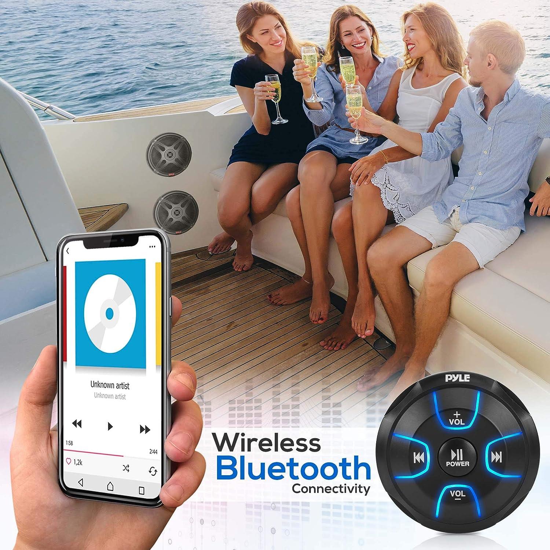 Pyle PLMRKT8 600 Watt Max Power IP65 Marine Grade Rating Waterproof-Rated w//Amplified Bluetooth Remote Control Receiver for Powersport Vehicles 6.5 Dual Marine Speakers Kit