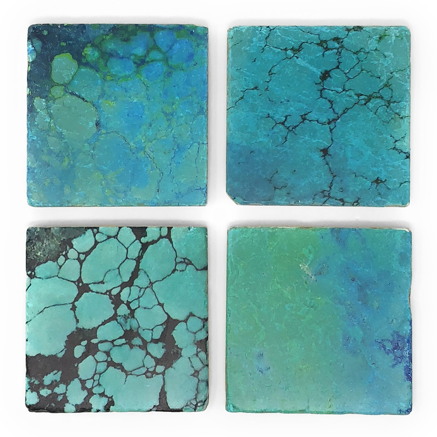Studio Vertu Turquoise Print Tumbled Marble Coasters, Set of 4