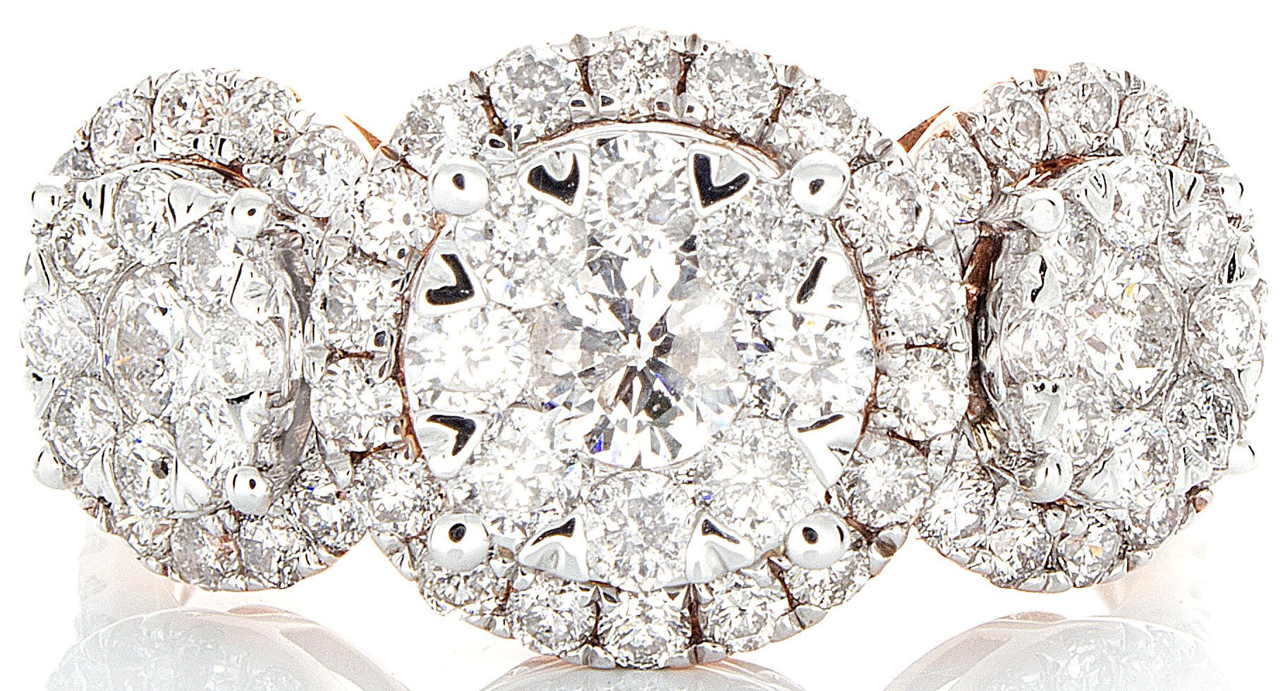2.00ctw Excellent Cut Round Diamond (H-1 color, i1 - i2 clarity) in 14k Gold Three Flower Fashion Ring