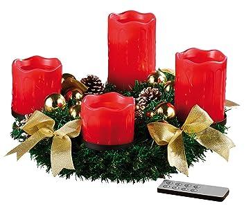 adventskranz mit led kerzen rot weihnachten in europa. Black Bedroom Furniture Sets. Home Design Ideas