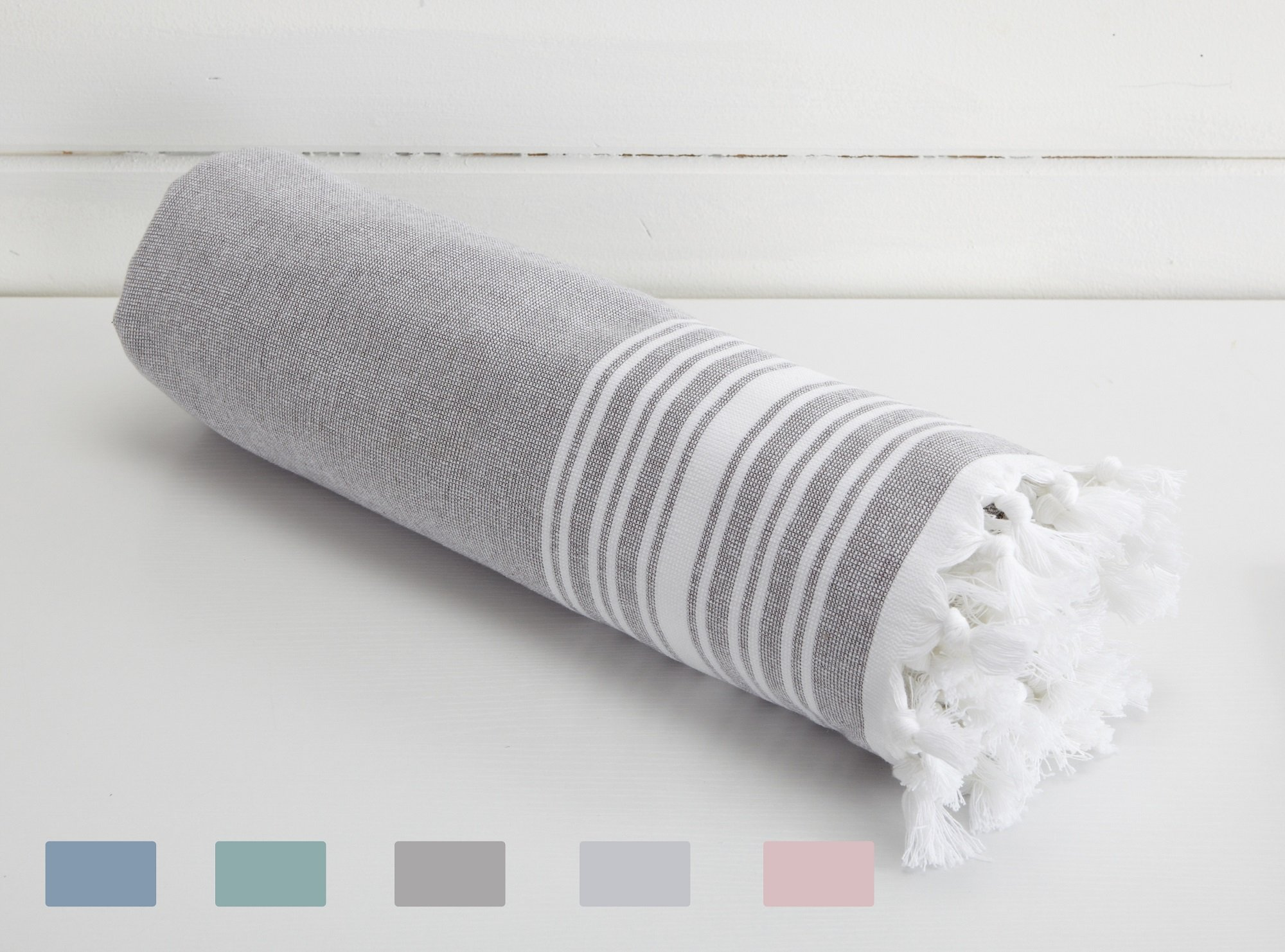 Home Fashion Designs Blossom Linens 100% Cotton Beach Towel and Oversize Bath Towel with Elegant Fouta Design, 500 GSM. By Brand. (Dark Grey)