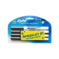 EXPO 84621 Original Dry Erase Markers, Fine Point, Black, 4-Count