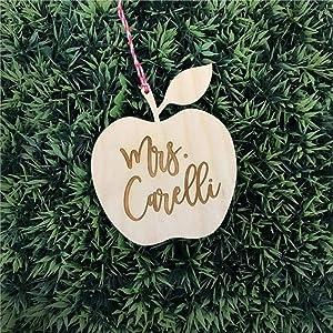 DONL9BAUER Christmas Ornament Teacher, Custom Ap-ple Ornament Holiday Tags Wooden Souvenir Custom Decor Anniversary Christmas Tree Decoration