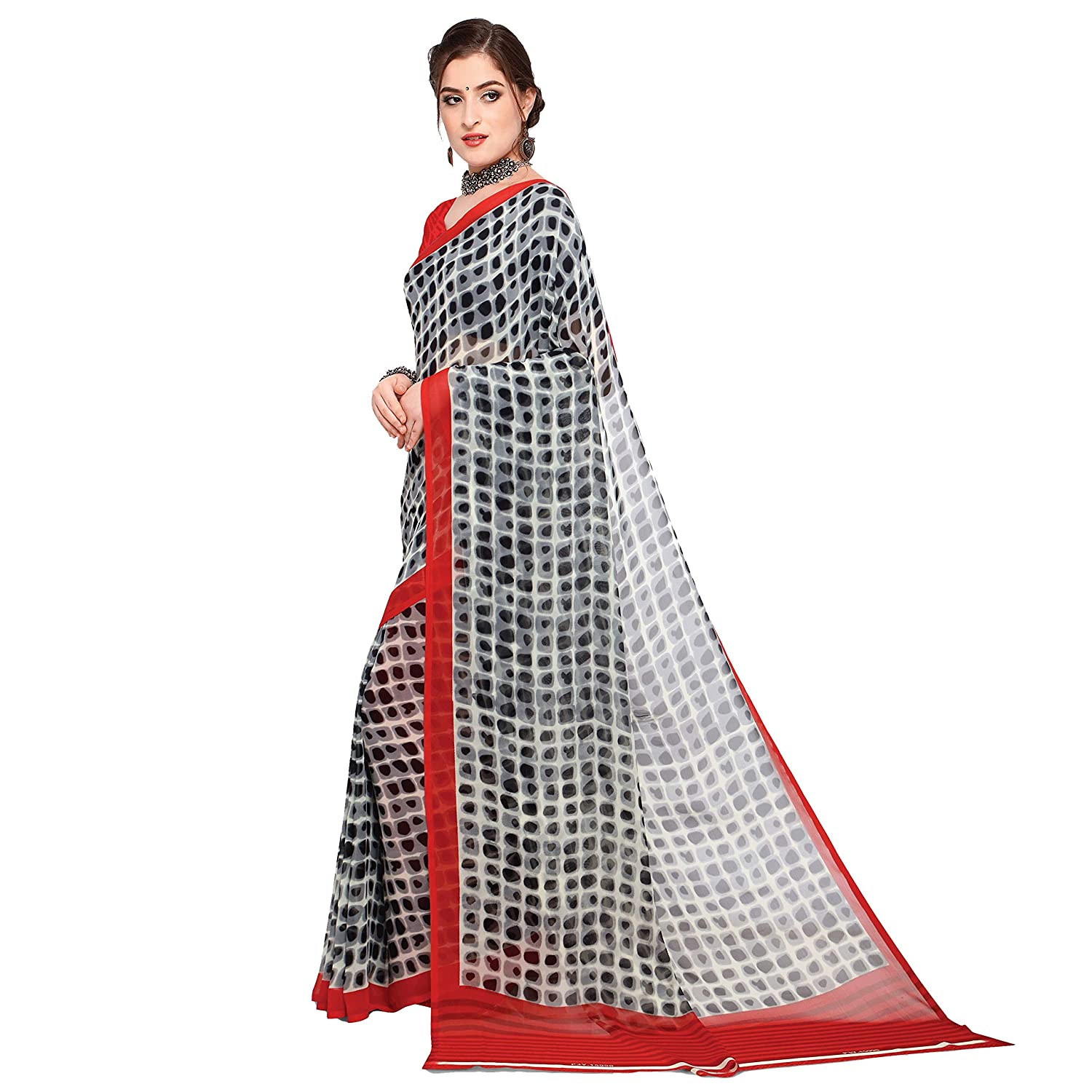 c5a0bb5114 Kashvi Sarees Black Color Faux Georgette Printed Saree With Blouse Piece  (1441): Amazon.in: Clothing & Accessories