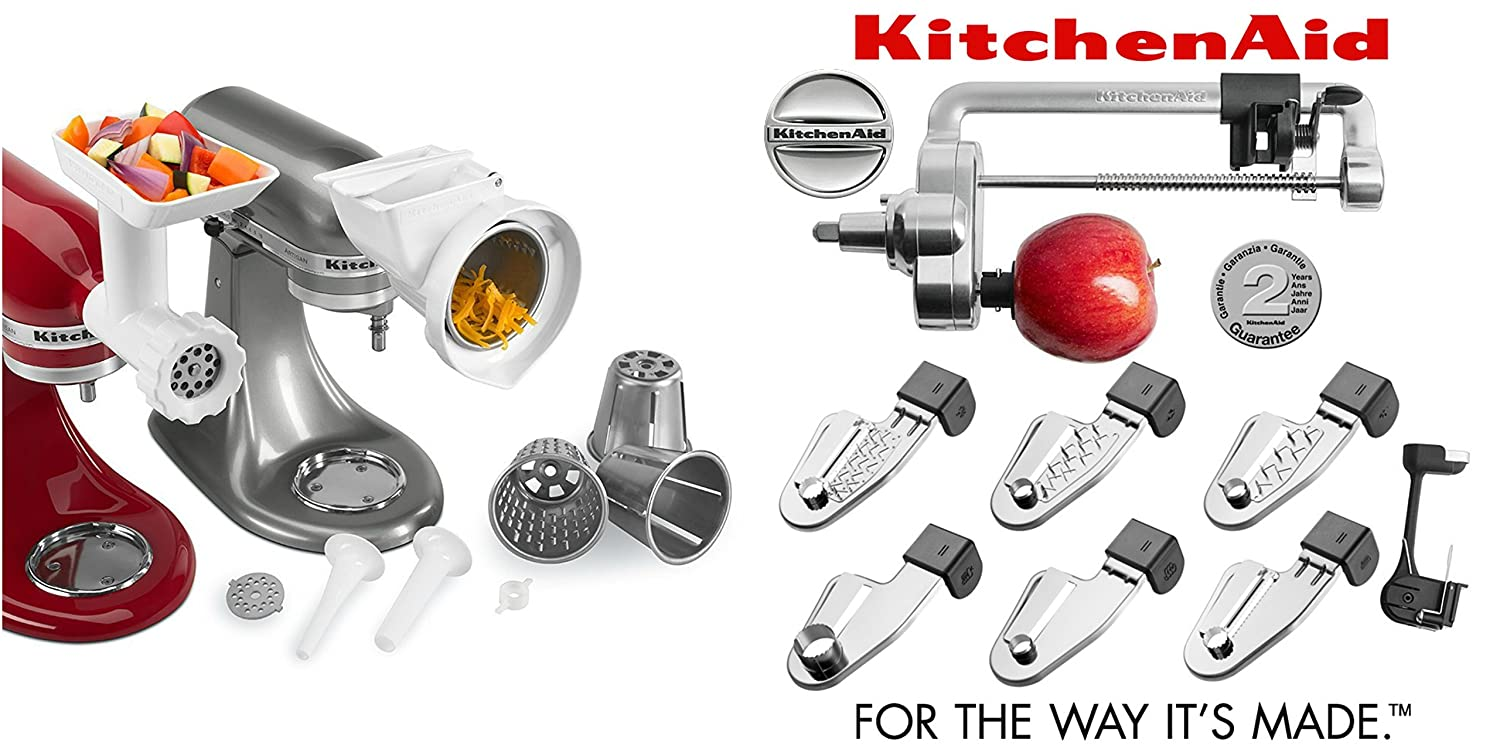 KitchenAid Ultimate Stand Mixer Attachment Packages - Fits All KitchenAid Stand Mixers (FPPA - Rotor Slicer Shredder - Food Grinder - Fruit and Vegetable Strainer Parts)