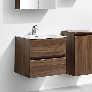 Meuble Salle De Bain Design Simple Vasque Siena Largeur 60 Cm Noyer